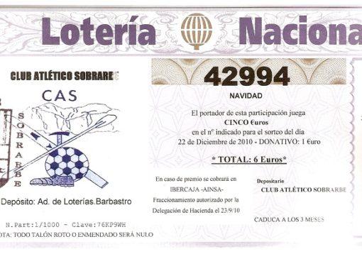 LOTERÍA NAVIDAD 2.010.NÚMERO 42.994
