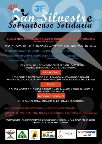 PRÓXIMA CELEBRACIÓN DE LA 4ª SAN SILVESTRE SOBRARBENSE SOLIDARIA. SÁBADO 31 DE DICIEMBRE EN AÍNSA.
