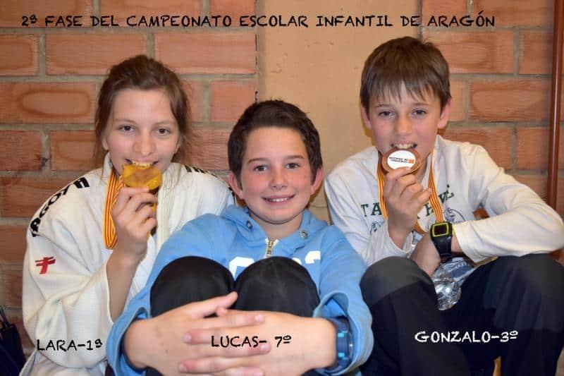 Buenos resultados y medallas de la Escuela de Judo del Cas en 2ª Fase Cº Aragon Infantil. Zaragoza, 2 de abril.