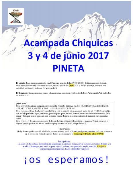 SUSPENDIDA POR CLIMATOLOGÍA ADVERSA. Información complementaria para la salida-acampada del Chiquicas del 3 y 4 de junio