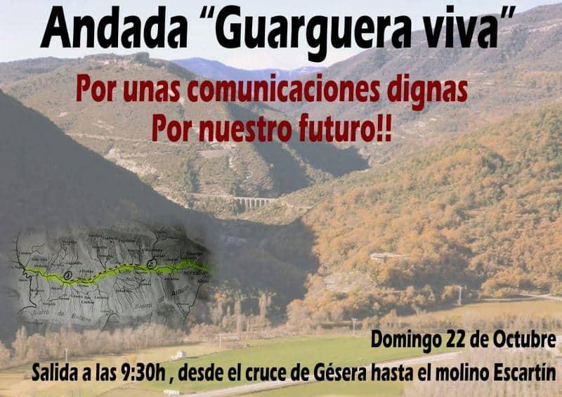 """Domingo 22 de Octubre. Andada reivindicativa """"Guarguera Viva"""", entre cruce de Gésera y Molino Escartín"""