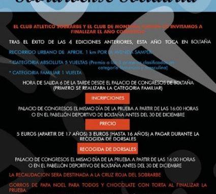 Cartel 5ª Carrera San Silvestre Sobrarbense Solidaria. 31 de Diciembre. Boltaña