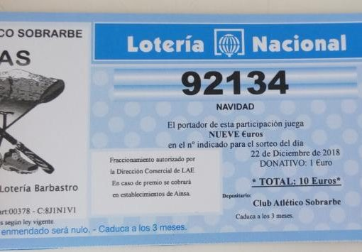 Ya a la venta la Lotería de Navidad 2018 del C.A.S. nº 92.134, este año también con recargo de solo el 10%.