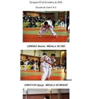 Muy buenos resultados de la Escuela de Judo del CAS en la Copa de Aragón en Zaragoza. Domingo 2 de Diciembre