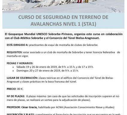 CURSO DE SEGURIDAD EN TERRENO DE AVALANCHAS. NIVEL 1. Diciembre 2018 y Enero 2019