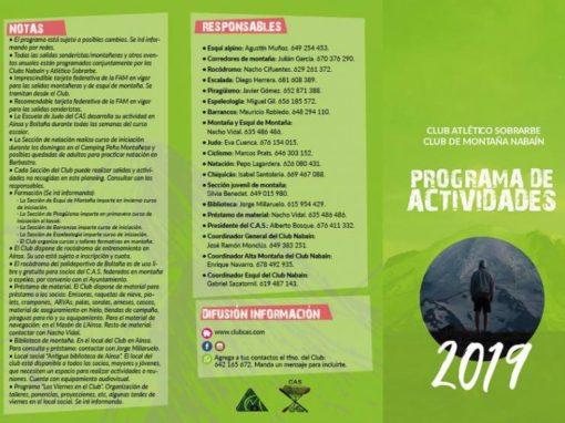 Calendario actividades programadas CAS año 2019.
