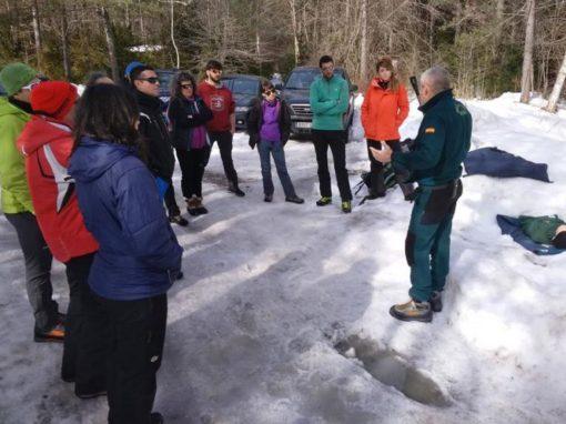 Realizada la práctica anual de seguridad en la nieve con el GREIM de Boltaña. Sábado 9 de Febrero en Pineta
