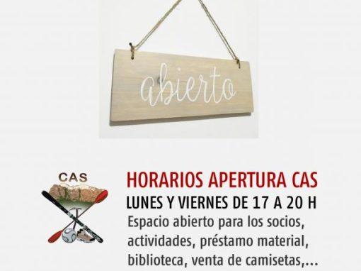 Apertura local del CAS, Lunes y Viernes, de 5 a 8 de la tarde.
