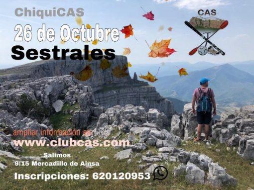 """Próxima salida del """"ChiquiCás"""". Sábado, 26 de octubre. Sestrales (por encima de Añisclo)."""