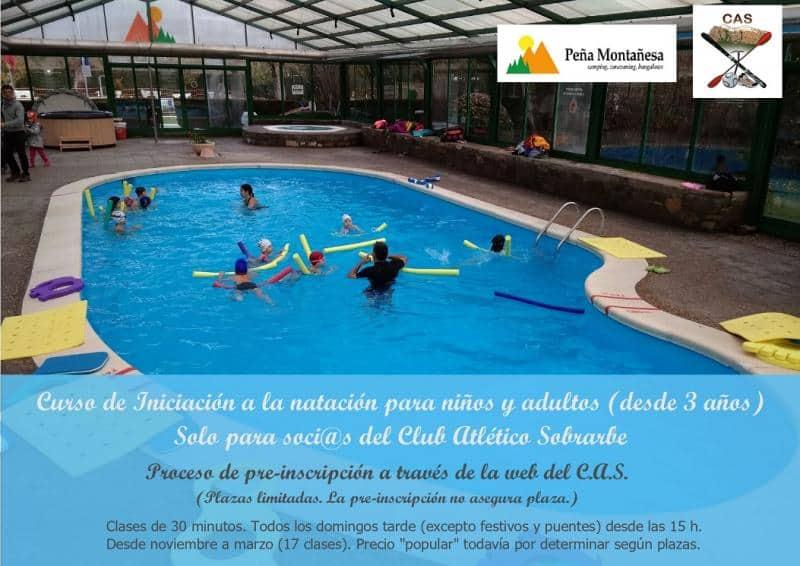 Curso de iniciación a la natación para niños y adultos (desde 3 años), socios del Club Atlético Sobrarbe.