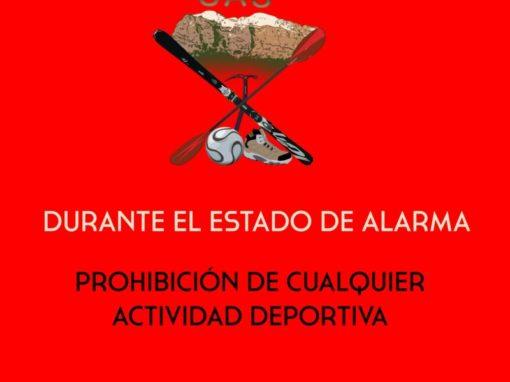 Prohibición de realizar cualquier actividad deportiva durante el estado de alarma. Control y multas.