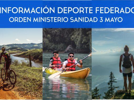 Deporte Federado. Orden Del Ministerio de Sanidad de 3 de mayo.