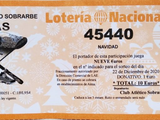 Lotería de Navidad 2020 del Club. Ya a la venta, nº 45440. ¡¡Suerte a todos¡¡