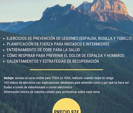 CURSO ONLINE DE PREVENCIÓN DE LESIONES PARA DEPORTES DE MONTAÑA.