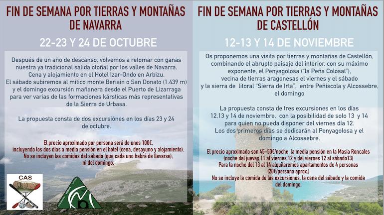 VIAJES A MONTAÑAS DE NAVARRA Y CASTELLÓN